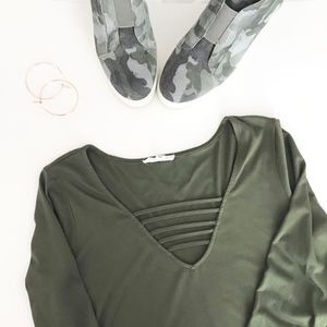 Socialite Green Mini Dress with Strap Detail
